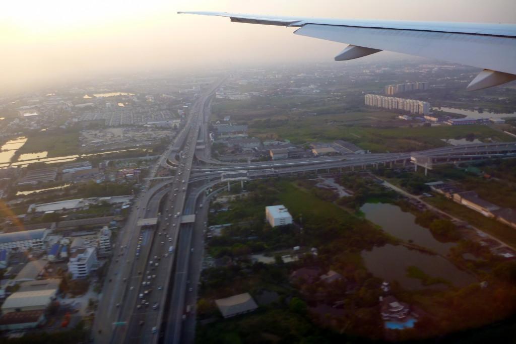 Pohled na Bangkok z letadla