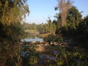 Řeka protékající kempem v džungli Khao Yai, Thajsko